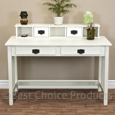 Writing Desk Mission White Home Office Computer Desk Solid Wood Construction New | eBay