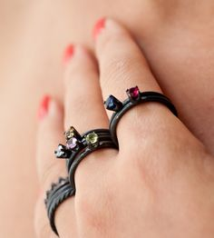 Custom Oxidized Sterling Silver Birthstone Ring - these are awesome