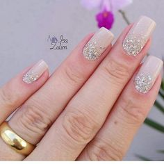 Ideas Wedding Nails Gel Brides Simple For 2019 Short Gel Nails, Long Nails, Bride Nails, Wedding Nails, Hair And Nails, My Nails, Finger, Nagel Gel, Easy Nail Art