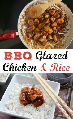 Easy BBQ Glazed Chicken and Rice Recipe! Check out this simple barbecue glazed chicken and easy rice dinner recipe! | #ad