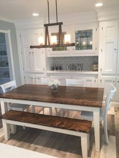 6 Solid Wood Farmhouse Table Farmhouse Dining Table Farmhouse Kitchen Table Built to Order Rustic Rustic Kitchen Tables, Farmhouse Kitchen Tables, Kitchen Dining, Farmhouse Furniture, Kitchen Table With Bench, Farmhouse Table With Bench, Farmhouse Decor, Cabinets In Dining Room, Big Kitchen