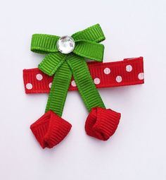 Juicy Red Cherry Ribbon Sculpture Hair Clip - Toddler Hair Bows - Baby Hair Clips.. Free Shipping Promo