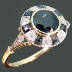 Blue sapphires and diamonds vintage art deco ring