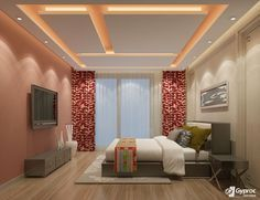 Looking for designer Residential False Ceilings? Check out Saint Gobain Gyproc's extensive range of Residential False Ceiling designs. Bedroom False Ceiling Design, False Ceiling Living Room, Bedroom Ceiling, Master Bedroom Design, Ceiling Decor, Modern Bedroom, Door Design, House Design, Hyderabad