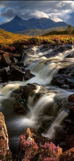 Cascading stream on the Isle of Skye in Scotland • photo: Barbara R Jones on Redbubble