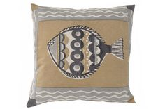 Large fish cushion in Sand, Printed Cushions, Throw Pillows, Fish, Prints, Cushions, Decorative Pillows, Decor Pillows, Printmaking, Scatter Cushions