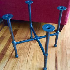 """I'm working on a new black pipe """"DIY"""" coffee table kit that will have the option for the hardware pipe kit only or you can choose to buy the unfinished round wood tops for the complete table kit as well. Coffee Table Kit, Round Picnic Table, Galvanized Pipe, Pipe Table, Black Pipe, Project Ideas, Projects, Pipe Furniture, Living Rooms"""