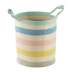 Tall Multicolor Cotton Rope Oval Bin with Handles Rolling Storage Bins, Craft Storage Cart, Arts And Crafts Storage, Toy Storage Boxes, Fabric Storage Bins, Toy Organization, Storage Baskets, Daycare Storage, Stacking Bins