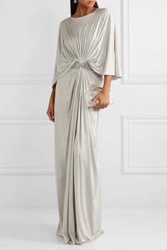 Reem Acra - Draped embellished silk-jersey maxi dress in 2020 Caftan Dress, Boho Dress, Dress Up, Draped Dress, Quinceanera Dresses, Gray Dress, Fashion Dresses, Maxi Dresses, Fashion Fashion