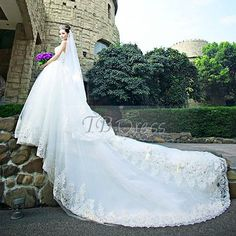 2013 New Style A-Line Lace Cathdral Train Wedding Dress.http://www.tbdress.com/product/2013-New-Style-A-Line-Lace-Cathdral-Train-Wedding-Dress-10525885.html