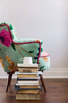 pile of books and coffee mug beside a chair by Kelly Knox - Stocksy United Pile Of Books, Mini Books, Hygge Book, Coffee Chairs, Mug Designs, House Rooms, Book Nerd, Home Buying, Home Interior Design