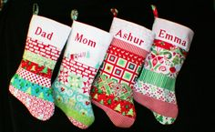 YOUR CHOICE-Set of 4 Patchwork-Christmas Stockings~Red-white -green -Trees-ornaments-Personalized by Bagzgirl on Etsy