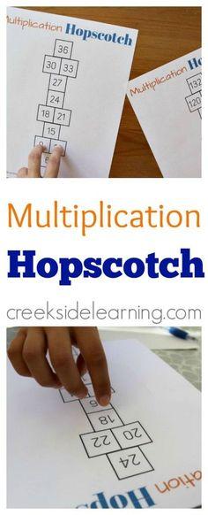 Multiplication games. Printable multiplication hopscotch. Hands on learning.