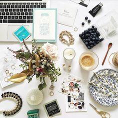 #flatlay #flatlays #desk #makeup #flowers #candles