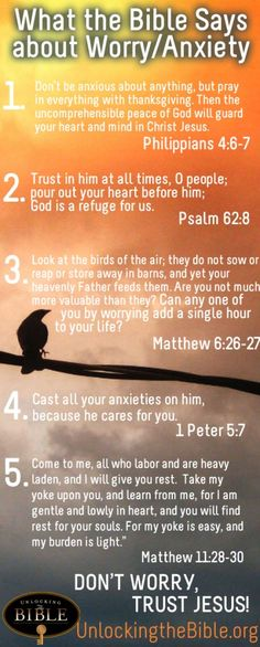 "Worry/Anxiety. Bible Scripture: 1 Peter 5:7, ""Casting all your care upon him; for he careth for you."""