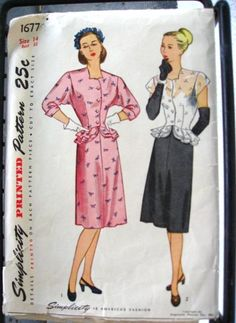 1940s Simplicity 1677 peplum dress vintage sewing pattern. Misses' and Women's Two-Piece Dress. Size 14, Bust 32.