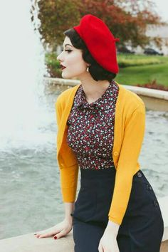 Looking for a stylish goldenrod sweater to add a dollop of darling to your wardrobe? This cropped cardigan is truly best in class, thanks to its cozy knit -. Mode Rockabilly, Rockabilly Fashion, Vintage Inspired Fashion, 1940s Fashion, Modern 50s Fashion, Retro Vintage Fashion, Romantic Style Fashion, Look Vintage, Vintage Mode