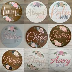 Custom Wood baby Name Sign 24 Round Sign Floral Cute Baby Girl Names, Unique Baby Names, Names Baby, Boy Names, Rose Nursery, Girl Nursery, Nursery Crib, Disney Nursery, Crib Bedding