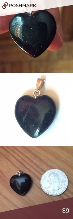 Has Defects. Polished Blue Goldstone Heart Pendant Two available. $5 each. One has small chip at bottom point of heart. Other has scratch on one side. Neither defect noticeable when worn. If interested please indicate which stone you wish to purchase. Crystal flecks. Lots of sparkle. Deep, deep blue color. Looks black. Photos don't do it justice. Please ask if you have questions. Jewelry