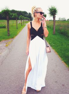 Black and White Maxi Dress with Cut Out and Split