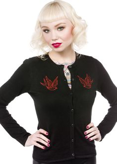 STEADY GLITTER BIRDS CARDIGAN    Layer up in the Steady Glitter Birds cardigan! This cozy little number features red glitter, embroidered birds on the chest & fantastic fit.    $60.00
