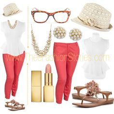 Plus Size: Coral Skinnies, created by jasmine-cooper on Polyvore