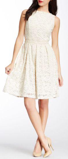 Isaac Mizrahi Sleeveless Lace Dress with Beaded Waistline