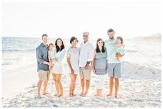 Earlier this month we were blessed to spend a few days at the beach with the wonderful White family! This was our first time visiting Navarre, Florida and we absolutely LOVED it! The beach was GORGEOUS and it was so peaceful and relaxing, especially after our trip to Disney World earlier in the… Summer Family Pictures, Beach Family Photos, Beach Photos, Family Pics, Family Photos What To Wear, Large Family Photos, Family Portrait Outfits, Family Beach Portraits, Beach Picture Outfits