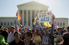 Supporters of same sex marriage rally in front of the U.S. Supreme Court before the court hears arguments about gay marriage in Washington April 28. The nine justices of the Supreme Court began on Tuesday to hear arguments on whether the Constitution provides same-sex couples the right to marry, taking up a contentious social issue in what promises to be the year's most anticipated ruling. Photo: Joshua Roberts/Reuters