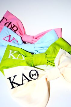 Sorority Hair Bows by Hannah Ariel - super cute for an apparel item, recruitment, or big/little gifts