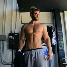 """The originator of the man bun looks great. Internet sensation Brock O'Hurn is HNGN's Man Crush Monday selection for his """"man bun"""" hairstyle, masculine arms and buff body. Buff Guys, Andre Hamann, Brock Ohurn, Ricardo Baldin, Man Bun Hairstyles, Man Crush Monday, Little Bit, Le Male, Raining Men"""