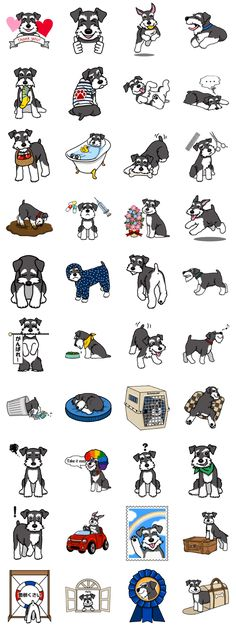 Sticker of the daily life of Miniature Schnauzer