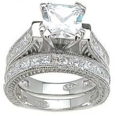 CZ Wedding Set for Women Vintage Style Sterling Silver Wedding Rings