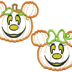 Instant Download - Two Machine embroidery Designs  Minnie and Mickey Halloween Pumpkin applique Design  4x4 5x7 and 6x10