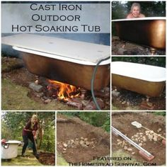 Claw Foot Cast Iron Outdoor Hot Soaking Tub Project - New Ideas - Kimberlee Petitt - Soaking Tubs Jacuzzi, Outdoor Bathtub, Outdoor Bathrooms, Outdoor Showers, Homestead Survival, Claw Foot Bath, Cast Iron Bathtub, The Ranch, Glamping