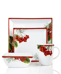 Charter Club Dinnerware, Red Berry Square Collection - Holiday Dinnerware - Holiday Lane - Macy's
