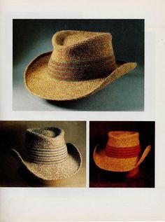 Crochet hat shaped brim cowboy Vintage 1970s English pattern PDF on Etsy, $2.50