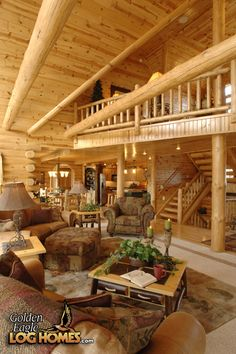 Interior of a Log Cabin Home