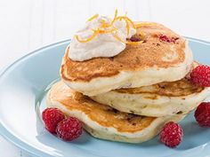 Raspberry pancakes with orange cinnamon ricotta