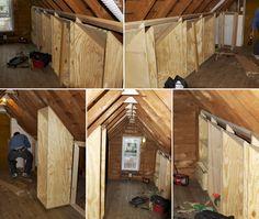 Walk in closet in unfinished attic space