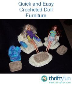 Quick and Easy Crocheted Barbie Doll Furniture If you crochet, then this is the project for you. Make some nice Barbie doll sized furniture for your child's dolls. This is a guide about quick and easy crocheted Barbie doll furniture. Crochet Barbie Clothes, Crochet Dolls, Doll Clothes, Animal Clothes, Barbie Furniture, Dollhouse Furniture, Furniture Ideas, Cute Crochet, Easy Crochet