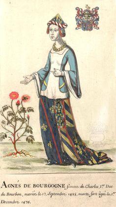 Agnès de Bourgogne, femme de Charles Ier duc de Bourbon, mariée le 17 septembre 1425, morte fort âgée le 1er décembre 1476.