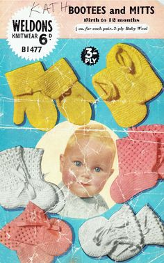 Items similar to Pdf Vintage Weldons Baby Knitting Pattern Bootees & Mittens Shoes Lacy EASY Garter Stitch Baby Doll on Etsy Cute Little Baby, Little Babies, Baby Knitting Patterns, Crochet Patterns, Knit Crochet, Crochet Hats, Quick Knits, Baby Bonnets, Easy Knitting