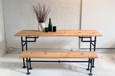 Poppytalk: 6 DIY Tables to Try / This table uses black iron pipes also (just a bit of a different version) - love the bench too! Get the instructions at HomeMade Modern