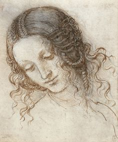 DaVinci, Leda: A drawing of the head of a woman turned three quarters to the left, looking down. The hair is fastened in elaborate braids, and arranged in coils over the ears. This is a study for the head of Leda in the lost painting of Leda and the Swan. The mythical Leda was seduced by Jupiter in the form of a swan.