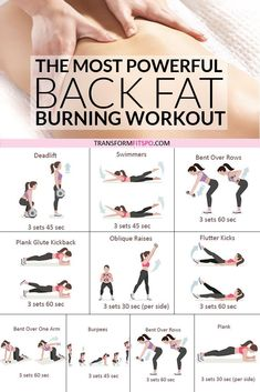 Most Powerful Back Fat Burning Workout! When You See The Results, You'll Be AMAZED is part of Back fat workout - Get your body ready cause this crazy powerful back fat burner can get you a firm and sexy back in no time! Back Fat Workout, At Home Workout Plan, Fat Burning Workout, Tummy Workout, Wake Up Workout, Toned Legs Workout, Gym Workouts, At Home Workouts, Kettlebell Arm Workout
