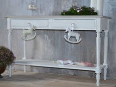 Wooden console table with 2 drawers and a shelf - SHABBY CHIC. old-fashioned style of antique white wood perfectly matches the French style. DECORATIVE Provencal style wooden console table, hand-carved and hand-painted. | eBay!