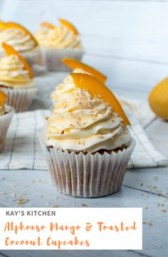Moist coconut and mango sponge, topped with a mixture of luscious, thick and creamy alphonso mango and coconut whipped creams, toasted coconut shavings and a cheeky slice of mango. Mango Cupcakes, Almond Cupcakes, Mango Cake, Banana Cupcakes, Mango Desserts, Banana Coconut, Toasted Coconut, Homemade Cupcake Recipes, Dessert Recipes