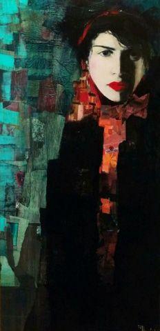 Visage De La Nuit 2005 26x39 by Richard Burlet, Original Painting, Acrilyc on Canvas