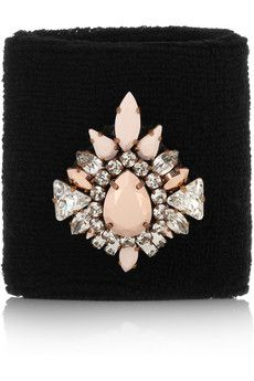Shourouk Wimblee Swarovski crystal-embellished stretch-terry wristband | NET-A-PORTER